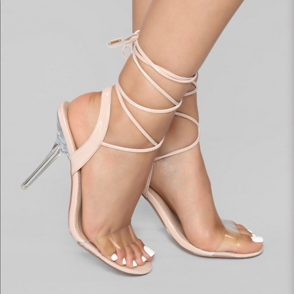 Nude Lace Up Clear Heel Shoe